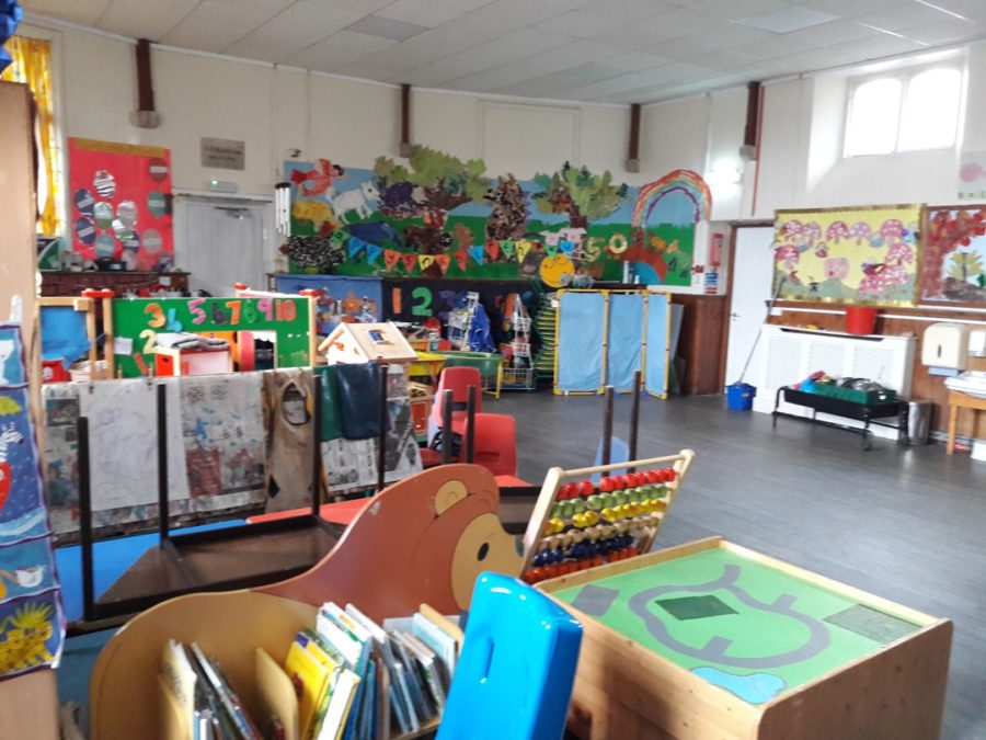 The school room at Chudleigh Town Hall showing a selection of toys