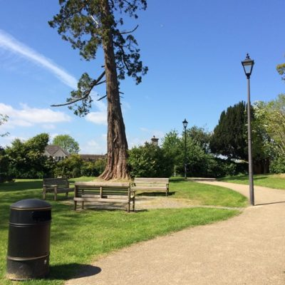 Path, bench and specimen tree situated in Culver Green Play Park - Click to open full size image