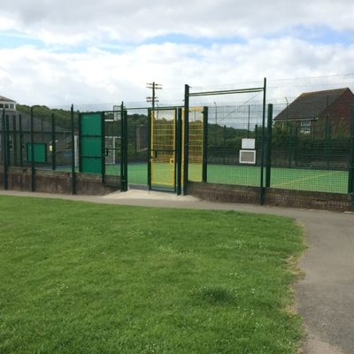 Entrance to sports area at Fore Street park - Click to open full size image