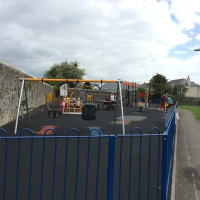 Image of play park at Fore Street showing swings - Click to open full size image