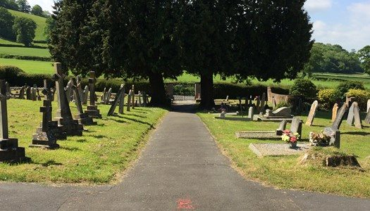 Cemetery with gravestones and trees