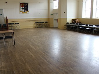 Wooden dance floor of the Upstairs Large Hall at Chudleigh Town Hall