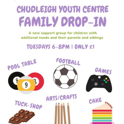 Poster advertising a drop in session at Chudleigh Youth Club for families
