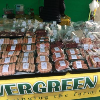 A Market Stall With Meat Products From Evergreen Farm - Click to open full size image