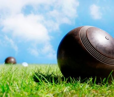 Bowls ball on grass with blue sky