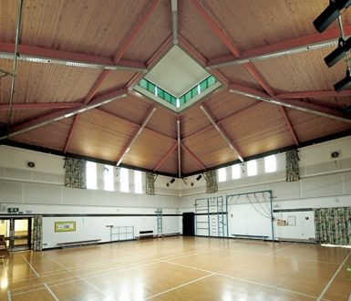 school hall with markings on the floor for sport