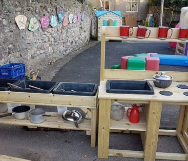 children wooden outdoor kitchen at Chudleigh Town Hall